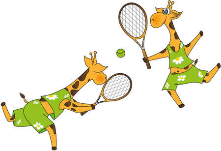 Funny Giraffes play tennis