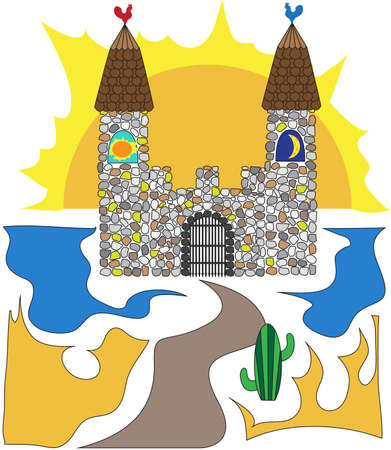 rooster and morning sun: A stone castle in the desert against the backdrop of the rising sun