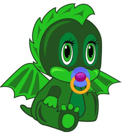 아름 다운 눈을 가진 녹색 신생아 용 일러스트