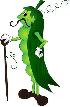 green peas: Cartoon pea pod dressed in coat