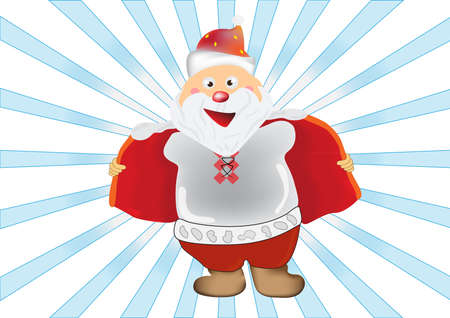 unbuttoned: Humorous illustration of Santa Claus, who opened his coat unbuttoned