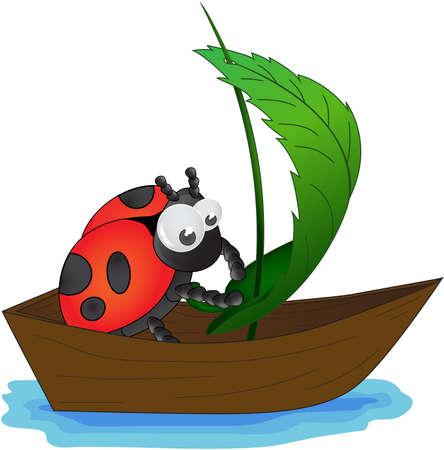 catarina caricatura: Mariquita roja en un barco de juguete controla la vela Foto de archivo