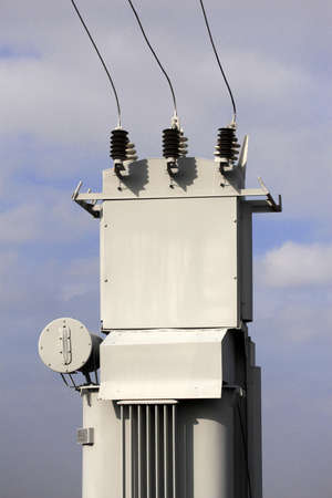 transformator: Transformer on high power station. High voltage