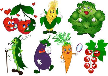 Cartoon groenten en bessen te stellen kersen, erwten, maïs, aubergine, wortel, kool, bes Stock Illustratie