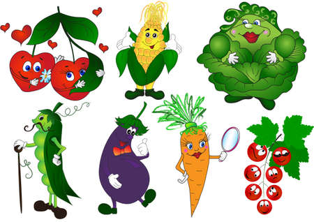 Cartoon vegetables and berries set  cherry, peas, corn, eggplant, carrot, cabbage, currant   Illustration
