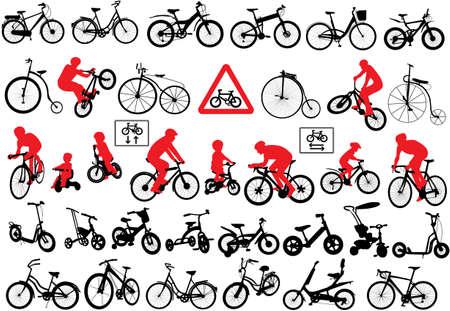 자전거 실루엣 세트