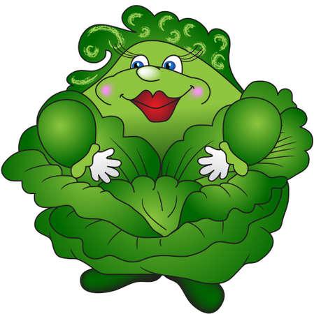 楽しいの誇りに思って、厚い緑のキャベツ 写真素材 - 13838914