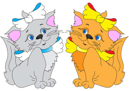 Card with fun kitty cats   Vector