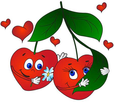 enamorados caricatura: Cerezas en el amor