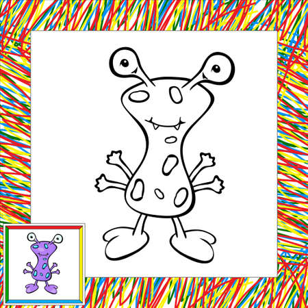 Funny vector alien (first). Coloring book Vector