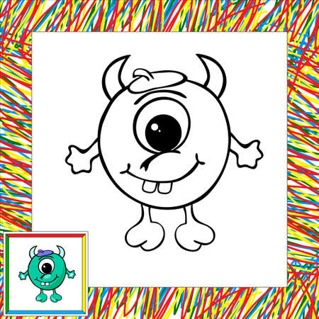 Funny vector alien (third). Coloring book Vector