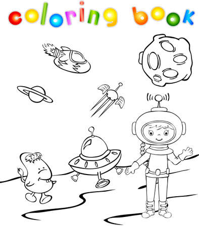 Astronaut and space monster near the rocket. Coloring book Vector