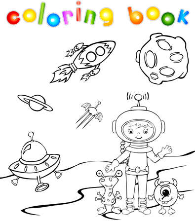 Funny monster aith astronaut. Coloring book Vector