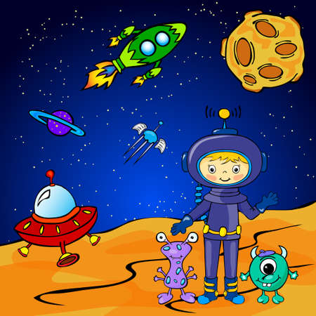 moon rover: Funny monster aith astronaut. Vector illustration Illustration