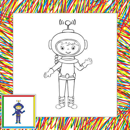 Funny vector astronaut. Coloring book Vector
