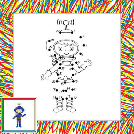 Funny vector astronaut dot to dot Vector