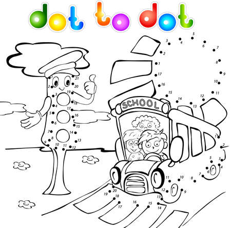 Funny bus with children and traffic lights dot to dot. Vector illustration for kids Vector