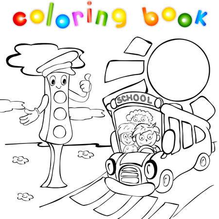 Schoolbus met kinderen en verkeerslichten. Grappig vector illustratie voor kinderen. Kleurboek Stock Illustratie