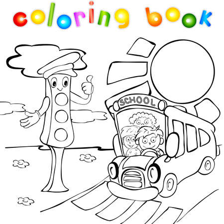 School bus with children and traffic lights. Funny vector illustration for kids. Coloring book