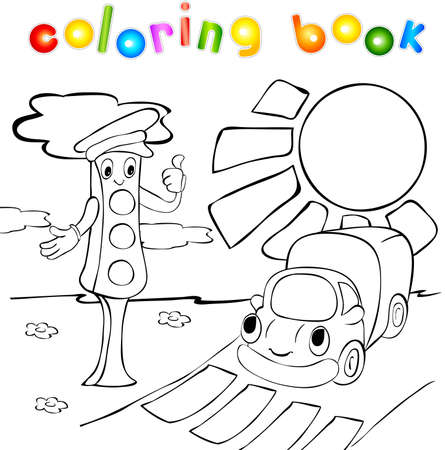 Lorry and traffic lights. Funny vector illustration for kids. Coloring book Vector