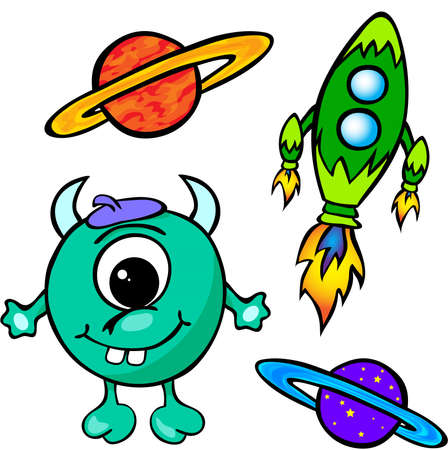 Alien, rocket and planet. Vector illustration isolated on white Vector