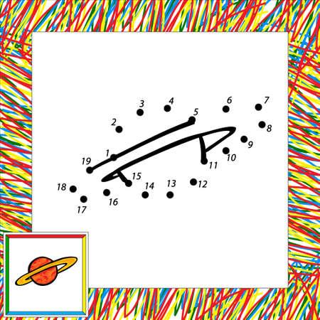 Cartoon vector planet (second). Dot to dot Vector