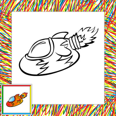 Cartoon vector rocket (second). Coloring book Vector