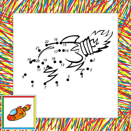 Cartoon vector rocket (second). Dot to dot Vector
