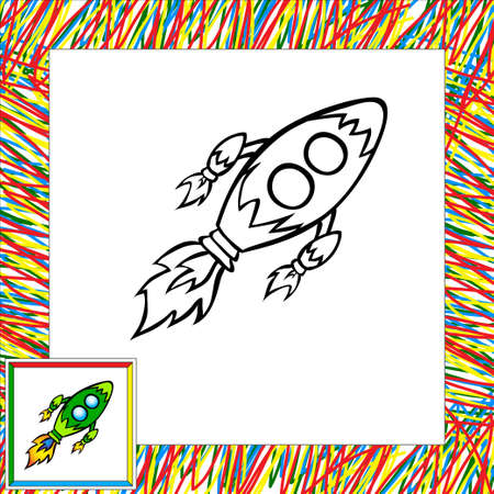 Cartoon vector rocket (third). Coloring book Vector