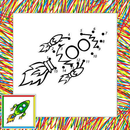 Cartoon vector rocket (third). Dot to dot Vector