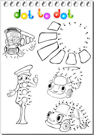 autobus: Set of cartoon transport - car, lorry, autobus - and traffic lights. Vector illustration dot to dot Illustration