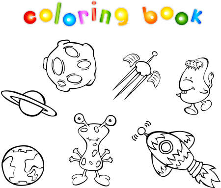Set of space monsters, planets and rockets. Coloring book Vector