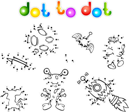 Set of space monsters, planets and rockets. Dot to dot Vector