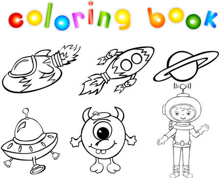 Astronaut, rockets, alien and planet. Coloring book Vector