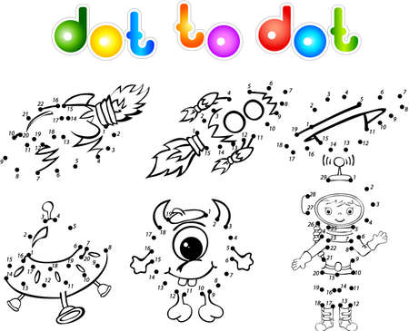Astronaut, rockets, alien and planet. Dot to dot Vector