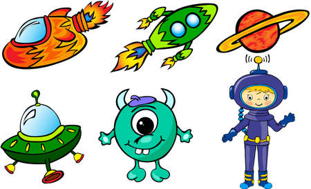 Astronaut, rockets, alien and planet. Vector illustration Vector