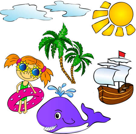 Summer tropical set: palms, ship, whale and girl. Vector illustration
