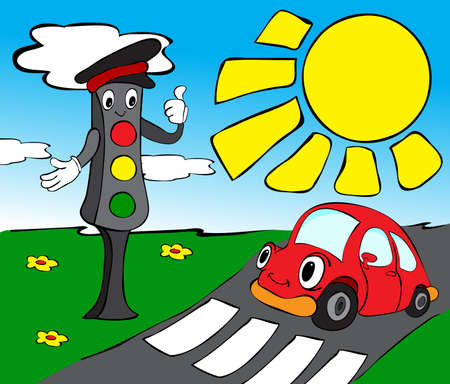 Red car and traffic lights. Funny vector illustration for kids Vector