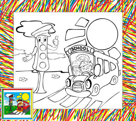 Coloring book with border. Funny bus and traffic lights Vector