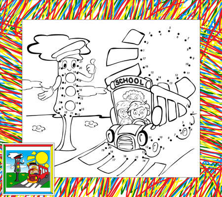Coloring book with border. Funny bus and traffic lights dot to dot Vector