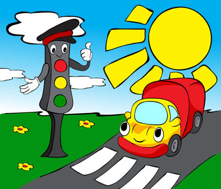 Lorry and traffic lights. Funny vector illustration for kids Vector
