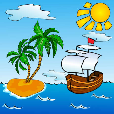 Sailship in the ocean near the tropical island with palms 일러스트