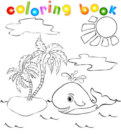 Funny whale near the tropical island with palms. Coloring book Vector