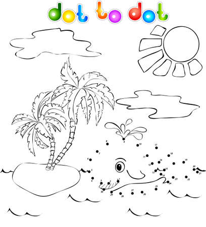 Funny whale near the tropical island with palms dot to dot Vector