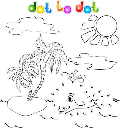 Grappige walvis in de buurt van het tropische eiland met palmen dot dot Stock Illustratie