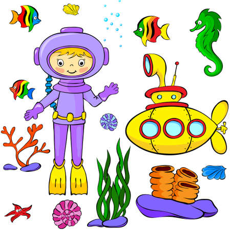 skin diving: Underwater set: yellow submarine, diver, fish and corals. Vector illustration