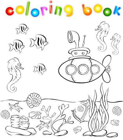 Mundo Submarino Con Libro De Colorear Submarino. Ilustración ...