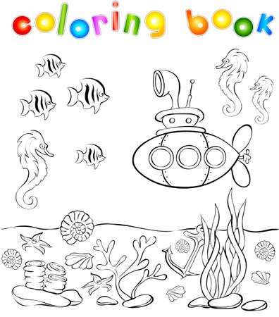 Underwater world with submarine coloring book. Vector illustration Vector