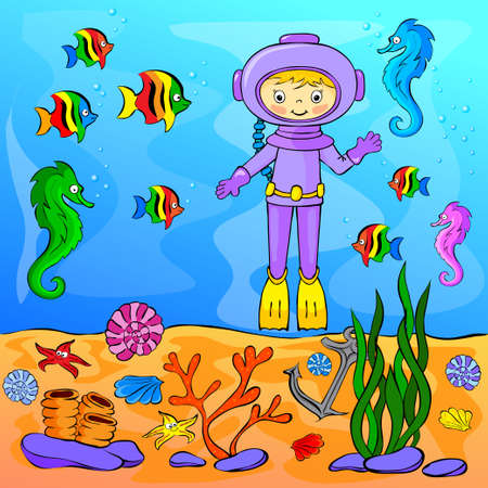Underwater world with diver. Vector illustration