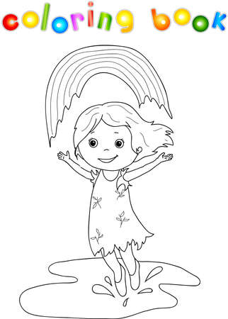 circumference: Girl dancing in the rain with rainbow Illustration